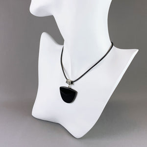 Black onyx and sterling silver pendant