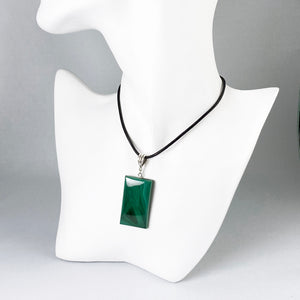 Malachite and sterling silver pendant