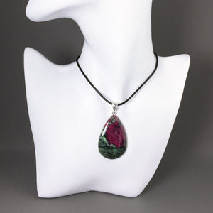 Ruby in zoizite and sterling silver pendant