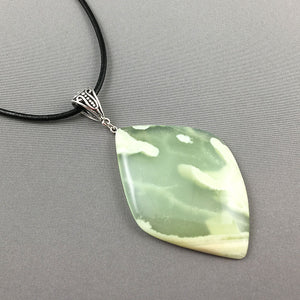 Serpentine and sterling silver pendant