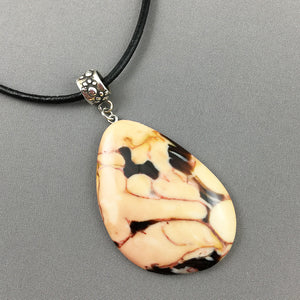 Fossil peanut wood and sterling silver pendant