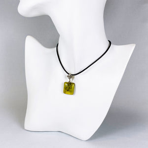 Colombian green amber and sterling silver pendant