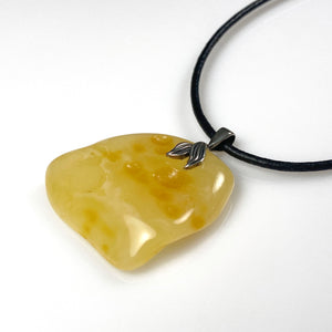 Baltic raw butterscotch amber and sterling silver pendant