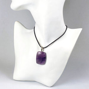 Phantom amethyst and sterling silver pendant