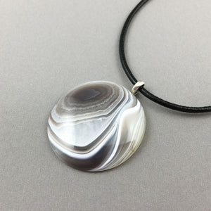 Botswana agate and sterling silver pendant