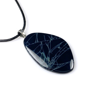 Spiderweb obsidian and sterling silver pendant