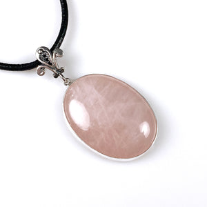 Rose quartz and sterling silver pendant