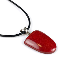 Red coral and sterling silver pendant