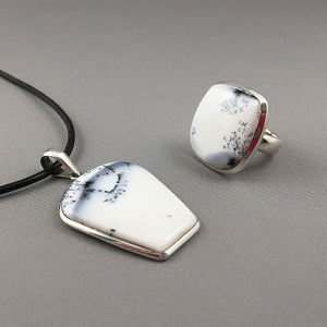Dendritic opal and sterling silver set