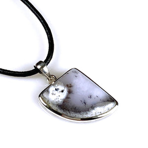 Dendritic opal and sterling silver pendant