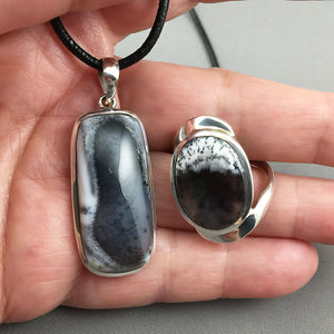 Dendritic opal (agate) and sterling silver set