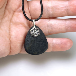 Black tourmaline and sterling silver pendant - RESERVED
