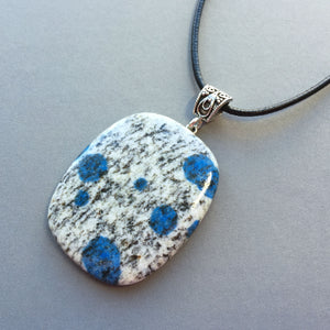 K2 (azurite in granite) and sterling silver pendant