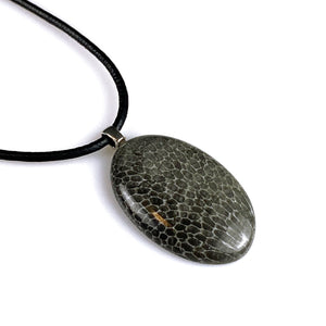 Black Moroccan fossil coral and sterling silver pendant