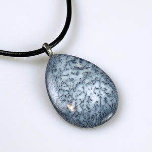 Dendritic opal (agate) and sterling silver pendant