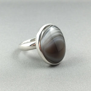 Botswana agate and sterling silver set