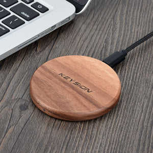 Mini Wireless Fast Charger Wood Pad