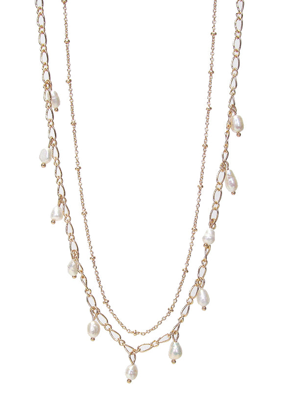 Fresh water pearl double layer gold dangle necklace