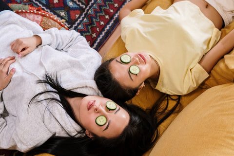 Girl time. Home spa day with cucumber eye masks. Self-care ad skincare