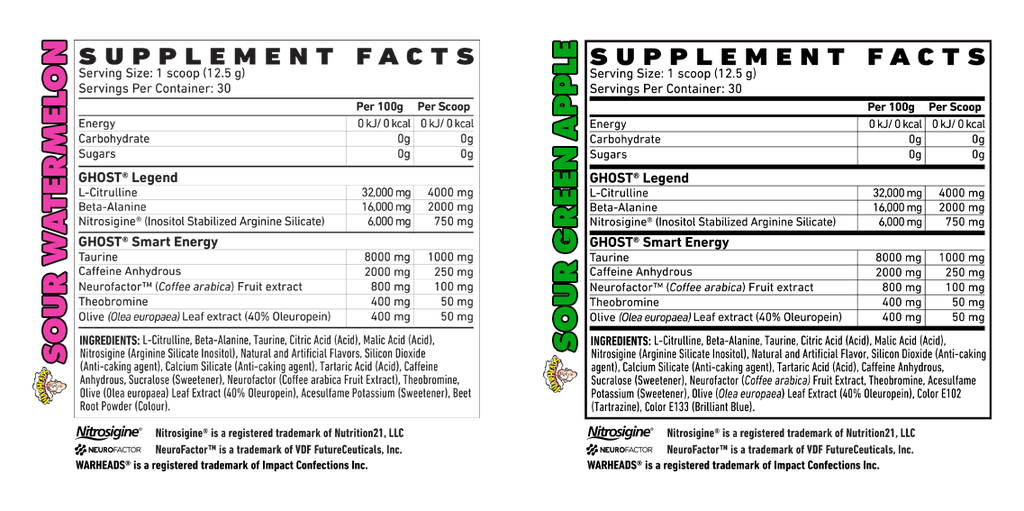 GHOST LEGEND X WARHEADS pre workout Nutrition Facts