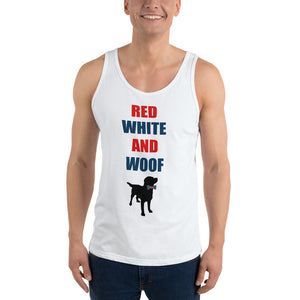 Red White and Woof Unisex Tank Top