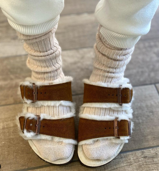 Birkenstock sandals with socks.