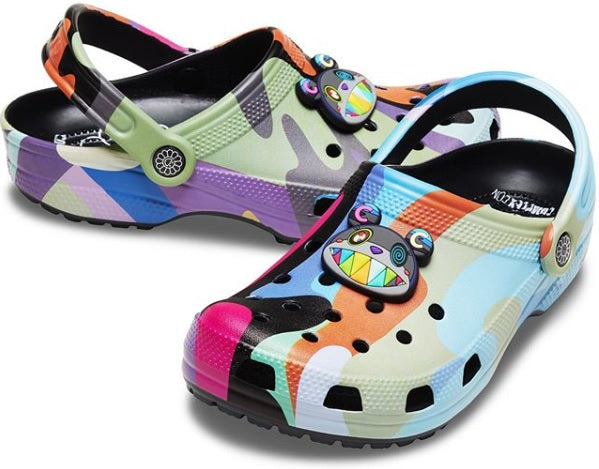 Takashi Murakami X Crocs multicolored sandals.