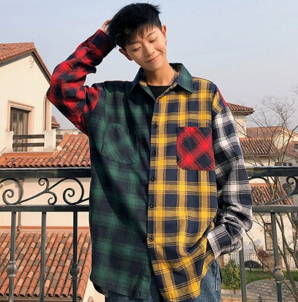DAYHYPE contrast flannel long-sleeved shirt.