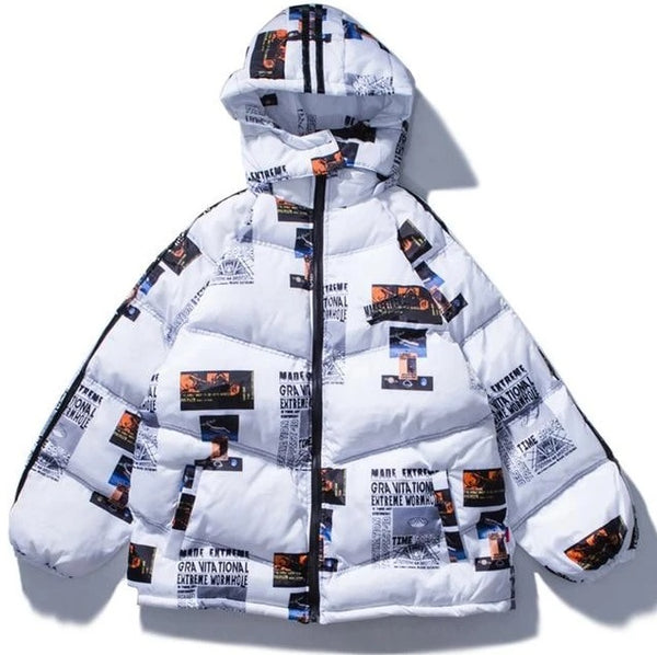 White puffer jacket with graphic design.