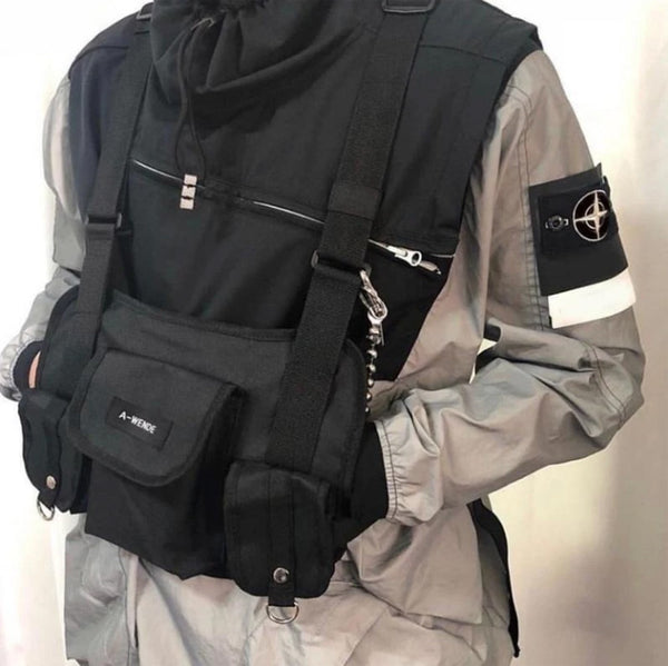 men's streetwear chest rig with jacket