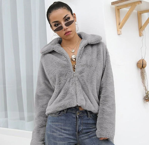 cropped fur streetwear jacket
