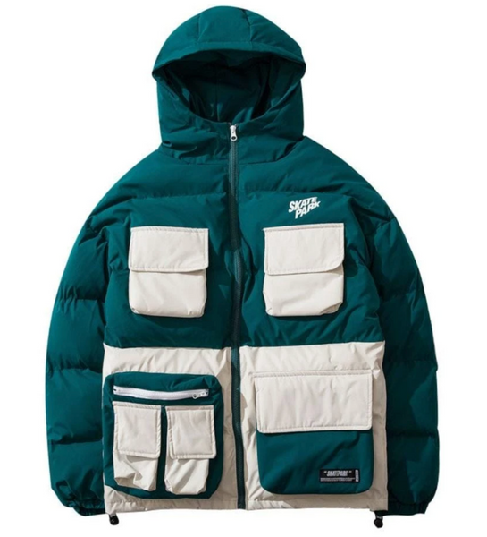DAYHYPE stocked puffer jacket in green and beige.