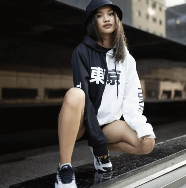 Day Hype black and white Tokyo hoodie