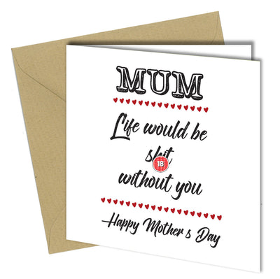 Birthday Greeting Card Adult Funny Rude #491 THANKS FOR BEING MAD Mothers Day