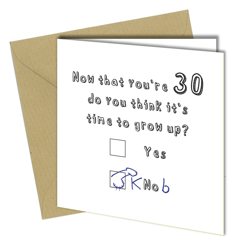 1027 Funny 30th Birthday Card Boy Male Son Daughter Humorous Thirty Thirtieth