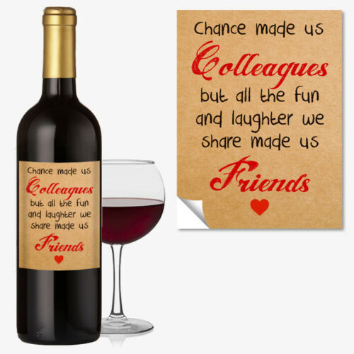 WINE BOTTLE LABEL FRIENDSHIP OCCASION GIFT Funny Work Colleague Office 1045
