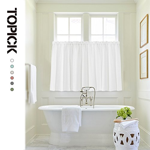 1 Pair White Tier Curtains For Kitchen 24 Caf Curtains Water Repellent Short Half Window Curtains For Bathroom Over Tub Laundry Room