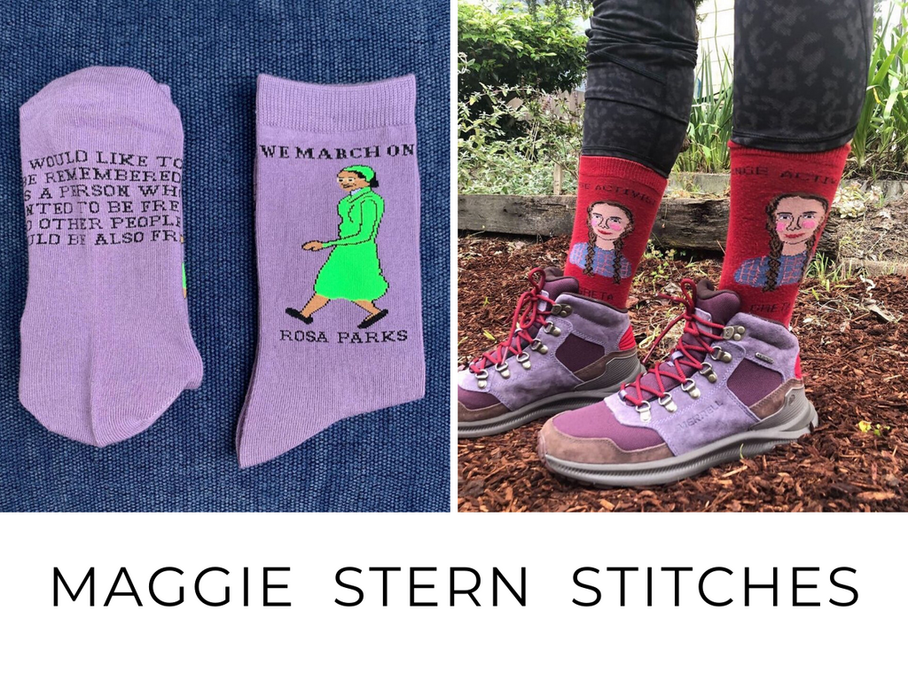 Maggie Stern Stitches are fashioned with the love of strong women! These o/s cotton socks have detailed stitching, and inspiring quotes make great grad gifts!