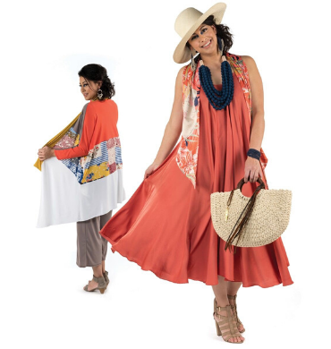 maresoleamore, canoe, straw hat, satin swing dress, fabric necklace, straw and leather bag, parrot long and narrow scarf