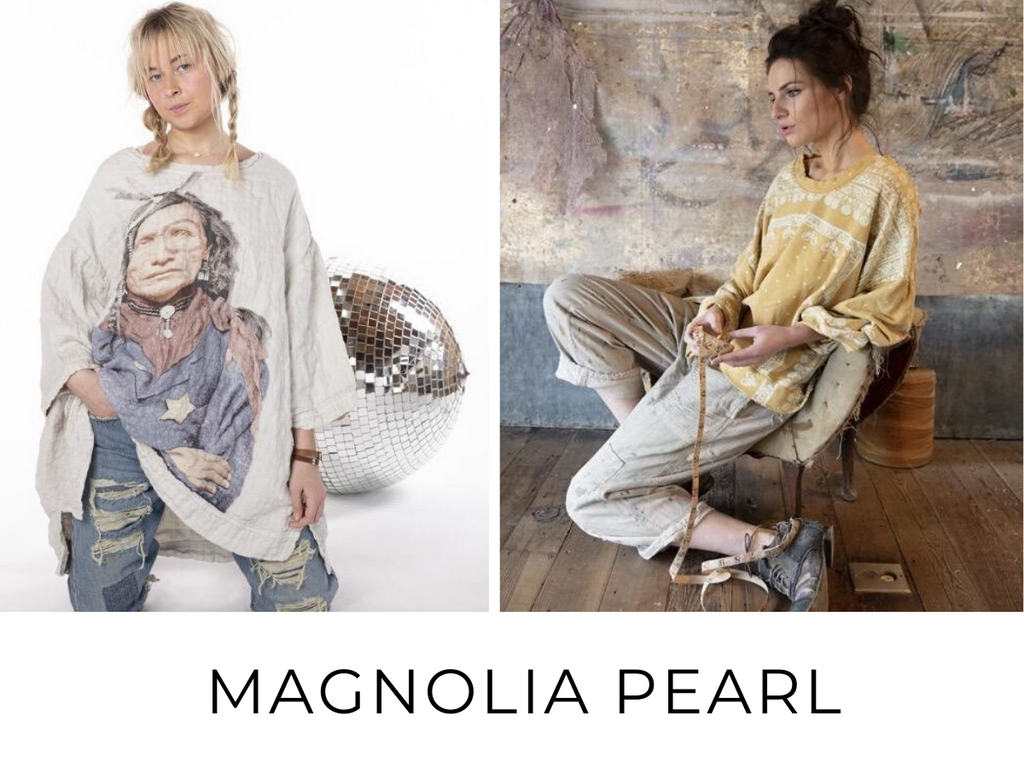 Vintage inspired and Boho Chic fabrics are created exclusively for Magnolia Pearl then distressed and faded. Styles include distressed, tees, t-shirt dresses, and more!