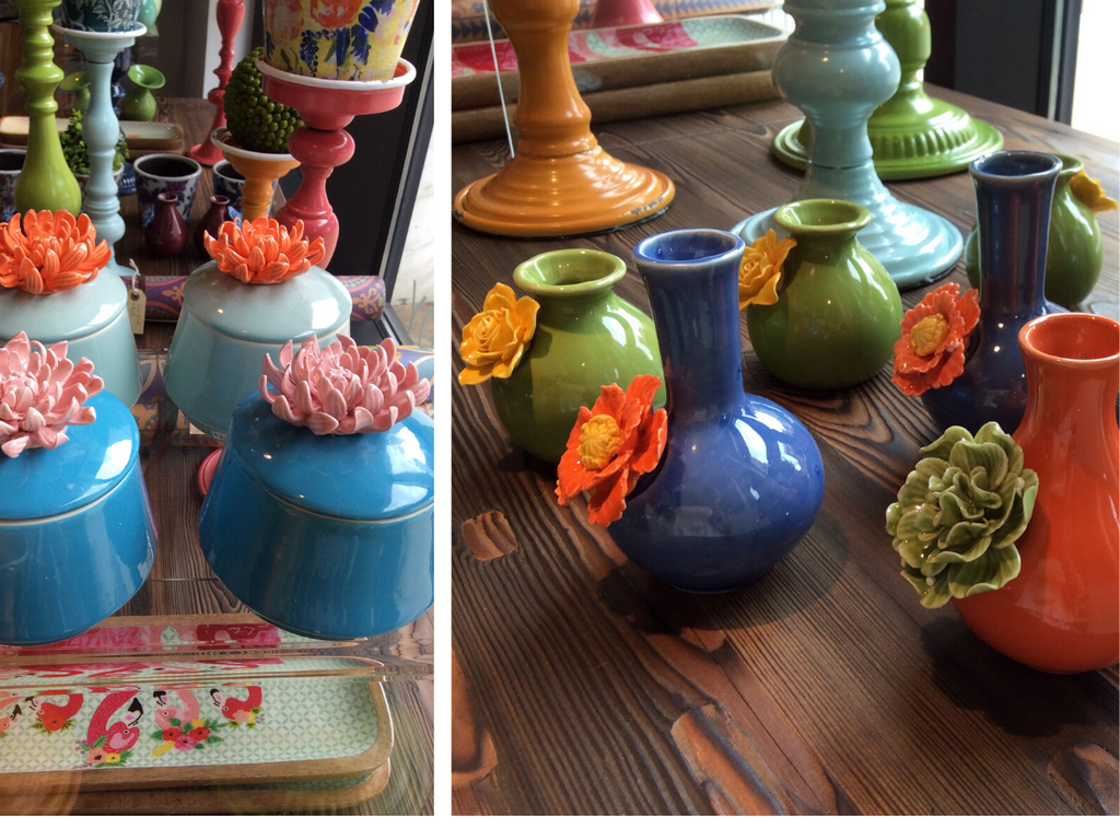 Pick a bunch of floral vases💐 with mix and match, ceramic flower bottles from $14.99- $18.99. Ceramic Zinnia lidded jars can be used to store trinkets or take the lid off and use them as a pot!$26 each.