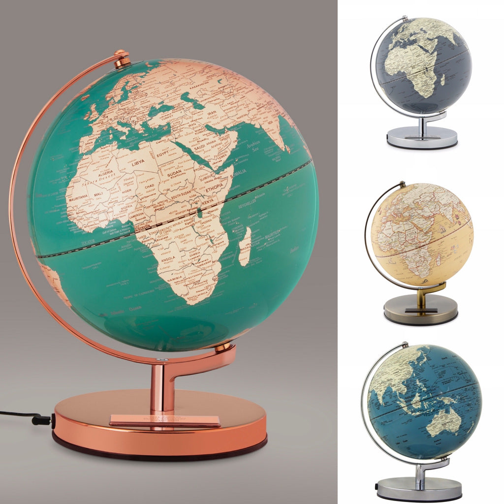 "Our lighted 10""globe lamps glow and give us hope for the days ahead! Available colors are as shown. Azure Blue, French Blue and Concrete"