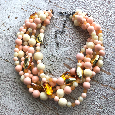 Leetie Lovendale Gilded Peach Lucite Sylvie Necklace