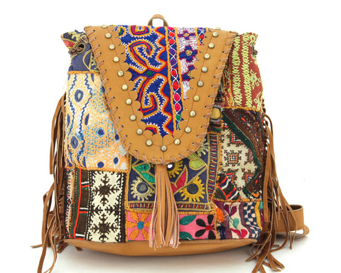 Tan Leather Vintage Fabric Backpack w Fringe