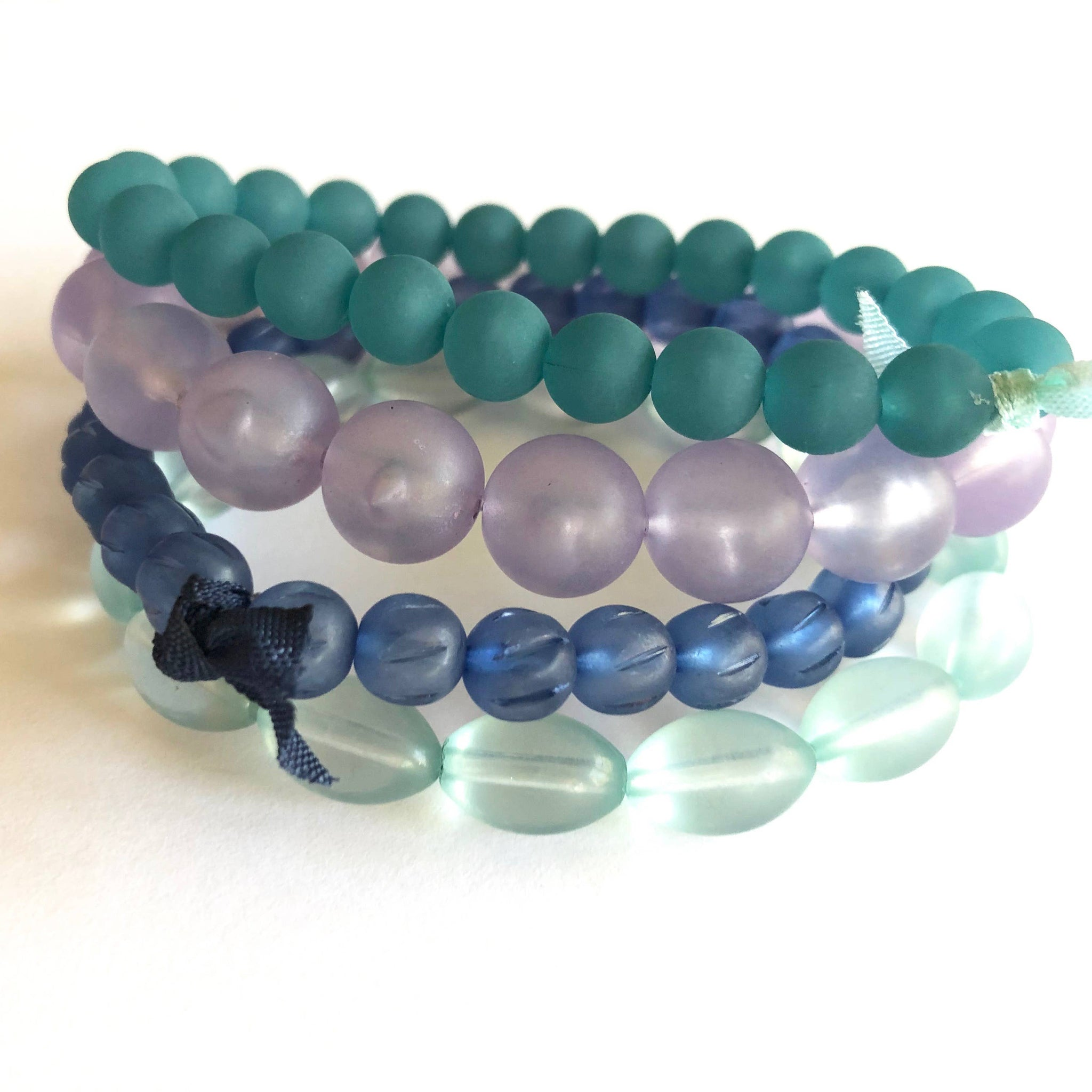 Leetie Lovendale Frosted Watery Tones Stack and Stretch Bracelet Set