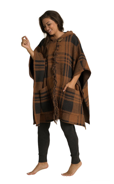 Barefoot Dreams Hooded Plaid Poncho