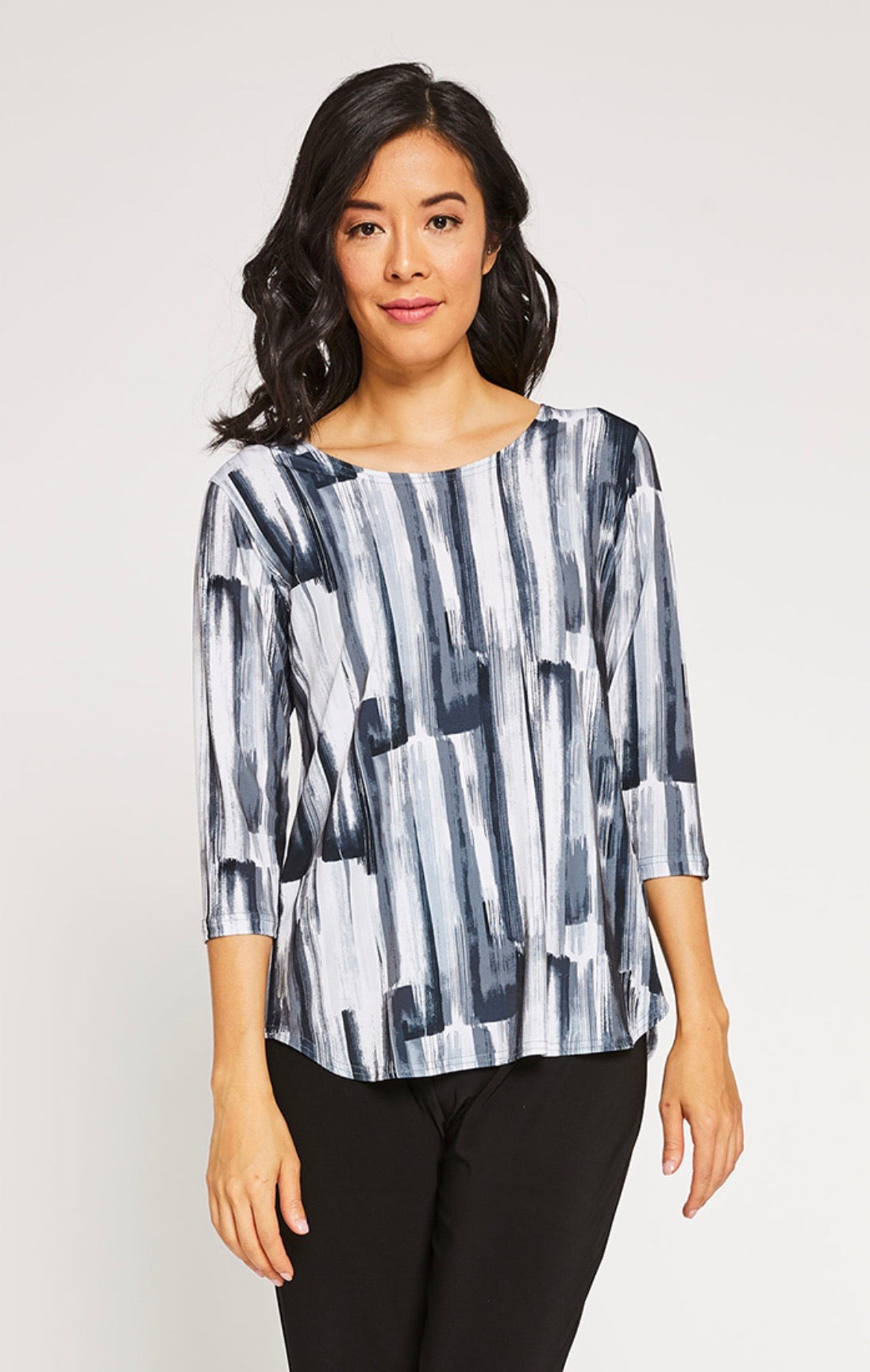 Sympli Go To Classic T, 3/4 Sleeve in Brush Stoke