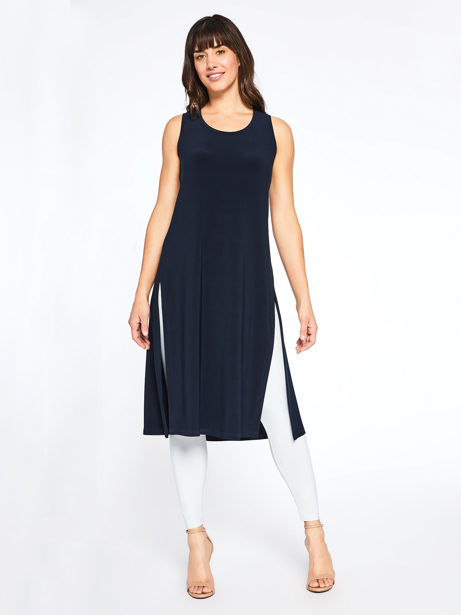 Sympli Navy Sleeveless High Slit Over/Under