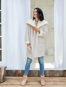 Barefoot Dreams Shearling Drape Car Coat