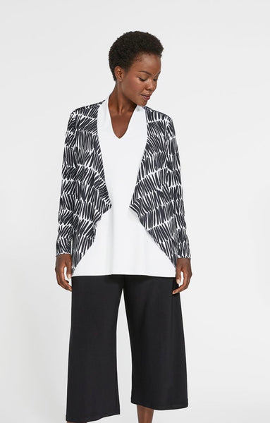 Sympli Key Cardigan Lined, Shifted Stripe